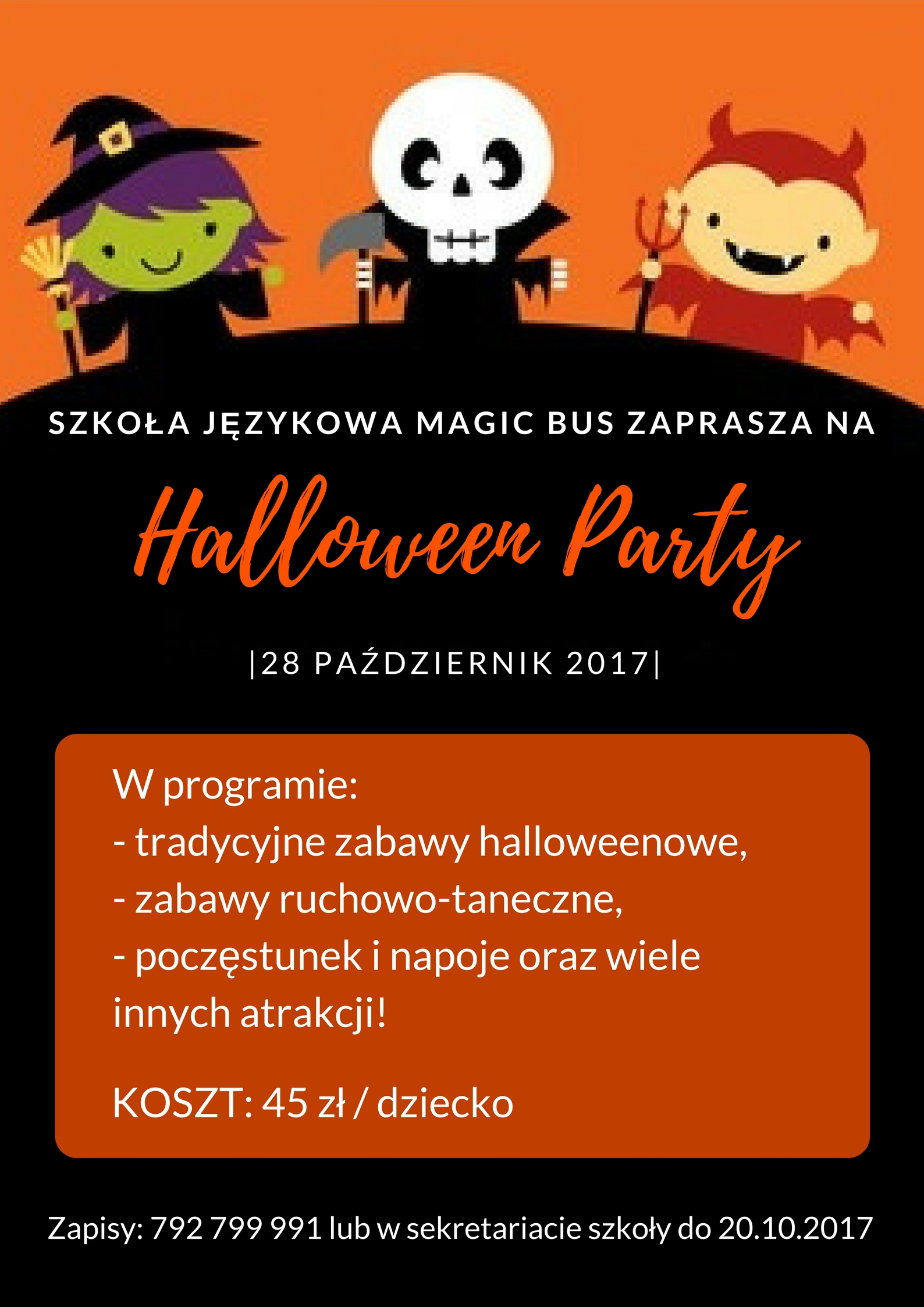 Zapraszamy Na Halloween Party 2017 Magic Bus English For Kids